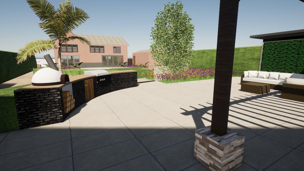 CAD image of a family garden by Llevelo Garden Designs