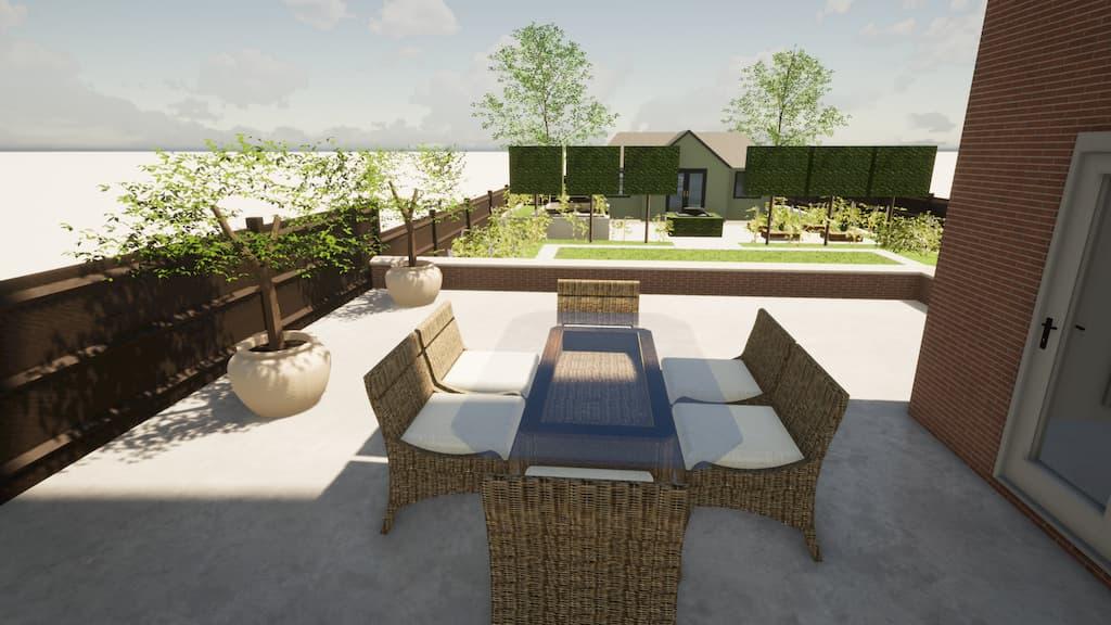 CAD image of a contemporary garden by Llevelo Garden Designs